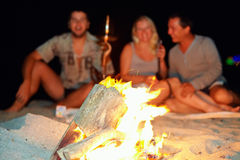 愉快的人民获得乐趣在篝火附近 库存图片