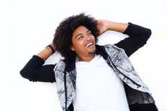 愉快的人用在非洲的头发的手 免版税库存照片