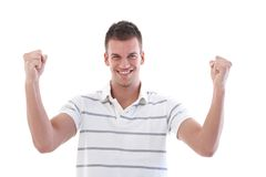 愉快的人紧握拳头 免版税库存照片