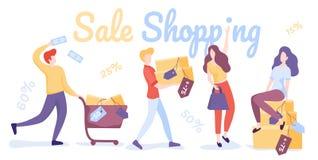 愉快的人购物 销售购物 平的传染媒介例证 库存例证