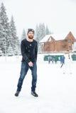 愉快的人滑冰获得乐趣户外 免版税图库摄影