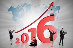 愉快的企业队工作在年2016年 免版税库存图片