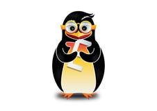 愉快的企鹅吃商标 免版税库存照片