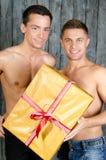 愉快的伙伴和礼物 库存图片