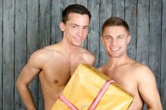愉快的伙伴和礼物 免版税库存图片