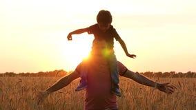 愉快的使用父亲和的儿子,模仿一次飞行,握手到在麦田的边在慢的日落期间 股票视频