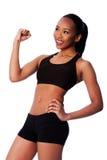 愉快的健康适合黑色亚洲人妇女 免版税图库摄影
