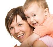 愉快的儿子纵向有母亲的 图库摄影