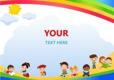 愉快的儿童和书框架 免版税图库摄影