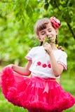 愉快的儿童嗅到的野花 库存图片