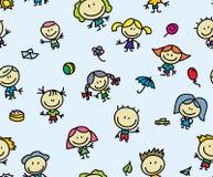 愉快的儿童无缝的背景 免版税库存图片