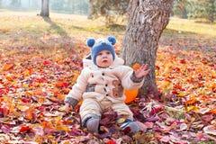 愉快的儿童男孩使用与叶子在秋天公园。 免版税图库摄影