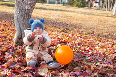 愉快的儿童男孩使用与叶子在秋天公园。 免版税库存照片