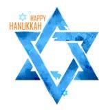 愉快的光明节,与垂悬的大卫王之星的犹太假日背景 向量例证