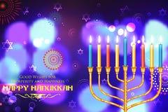 愉快的光明节,犹太假日背景 向量例证