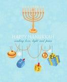 愉快的光明节,犹太假日 与五颜六色的蜡烛的光明节meora 免版税库存照片