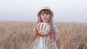 愉快的农夫女儿,小逗人喜爱的儿童女孩吃愉快地停留在金黄大麦的鲜美新近地被烘烤的根似和微笑 股票录像