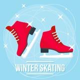 愉快的冬天滑冰的概念背景,平的样式 皇族释放例证