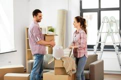 愉快的加上搬到新的家的材料 库存照片