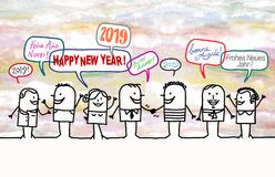 愉快的动画片人民和新年2019年 向量例证