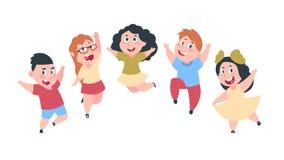 愉快的动画片孩子 逗人喜爱的男孩和女孩孩子,小组学校学生,孩子友谊概念 被隔绝的传染媒介 向量例证