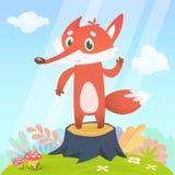愉快的动画片狐狸字符 导航在五颜六色的森林背景隔绝的狐狸的例证 向量例证