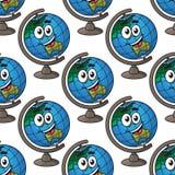 愉快的动画片地球无缝的样式 免版税图库摄影