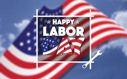 愉快的劳动节美国人,文本标志,弄脏了美国国旗和蓝天在背景中 库存照片