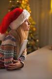 愉快的十几岁的女孩画象圣诞老人帽子拥抱日志的 库存图片