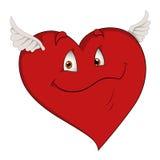 飞行心脏-漫画人物传染媒介例证 免版税库存图片