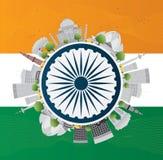 愉快的印地安共和国天庆祝 也corel凹道例证向量 免版税库存照片
