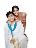 愉快的印地安夫妇画象  图库摄影