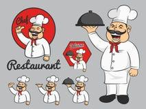 愉快的厨师动画片吉祥人赞许和拿着盘 库存例证