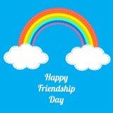 愉快的友谊天彩虹和白色云彩在天空 破折号线 平的设计 免版税库存照片