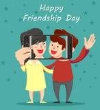 愉快的友谊天贺卡 拥抱的朋友,微笑和 库存例证
