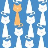 愉快的反对蓝色背景,传染媒介例证的猫无缝的样式 免版税库存图片