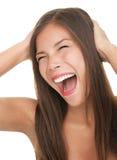 愉快的叫喊的妇女 免版税库存照片