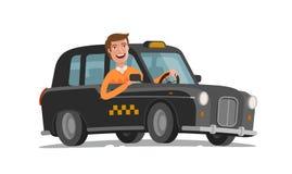 愉快的司机驾驶出租汽车 乘客运输,汽车,车概念 外籍动画片猫逃脱例证屋顶向量 库存例证