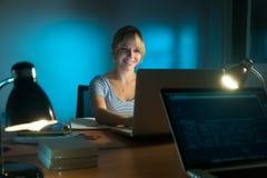 愉快的后工作在个人计算机的妇女室内设计师在晚上 库存照片