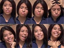 愉快的哀伤的女性青少年的拼贴画 免版税库存照片