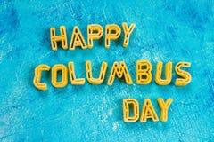 愉快的哥伦布日文本 美国假日的概念 美国的发现者 假日状态 库存照片