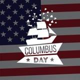愉快的哥伦布日 传染媒介平的船标志 皇族释放例证