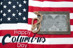 愉快的哥伦布日 标记我们 美国大陆的地图 库存照片