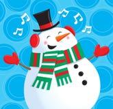 愉快的唱歌的雪人 免版税库存照片