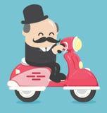 愉快的商人办公室工作者字符骑马自行车移动向w 皇族释放例证