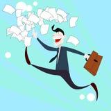 愉快的商人奔跑投掷文件,成功概念 免版税库存图片