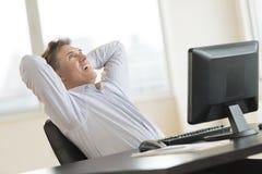 愉快的商人用在坐在书桌的头后的手 库存图片