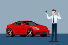 愉快的商人,卖主立场和拿着在豪华汽车前面的信用卡停车处在大陈列室里 库存例证