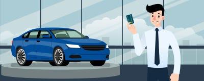 愉快的商人,卖主立场和拿着在豪华汽车前面的信用卡那停车处在大陈列室里在城市 向量例证