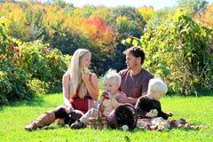 愉快的四口之家饮用果子快餐在秋天苹果树 免版税库存照片